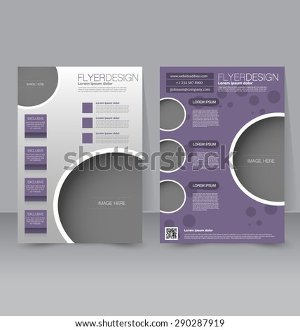 Flyer template. Business brochure. Editable A4 poster for design, education, presentation, website, magazine cover. Purple color. - stock vector