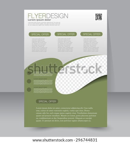 Flyer template. Business brochure. Editable A4 poster for design, education, presentation, website, magazine cover. Green color. - stock vector