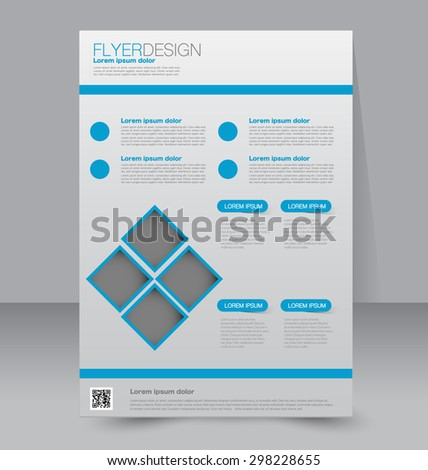 Flyer template. Business brochure. Editable A4 poster for design, education, presentation, website, magazine cover. Blue color - stock vector