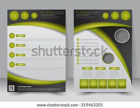 Flyer template. Business brochure. Editable A4 poster for design, education, presentation, website, magazine cover. Green and black color. - stock vector