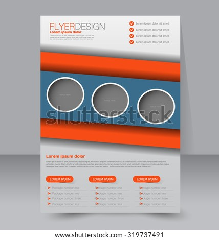 Flyer template. Business brochure. Editable A4 poster for design, education, presentation, website, magazine cover. Blue and orange color - stock vector