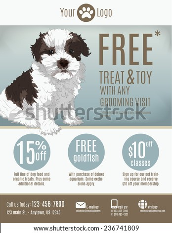 Flyer template for a pet store or groomer with discount coupons and advertisement featuring a cute puppy. - stock vector