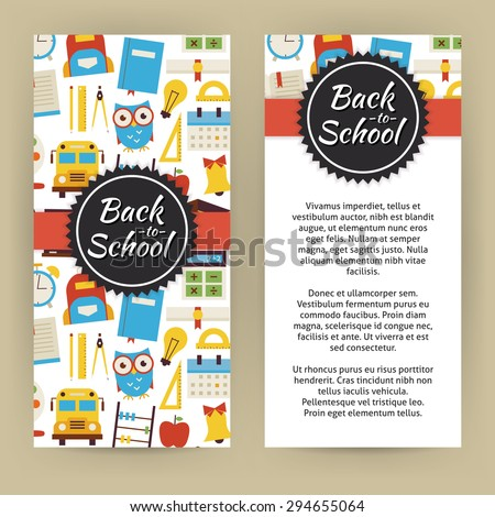 Flyer Template of Back to School and Education Objects and Elements. Flat Style Design Vector Illustration of Brand Identity for Knowledge Science University and College Promotion. Colorful Pattern