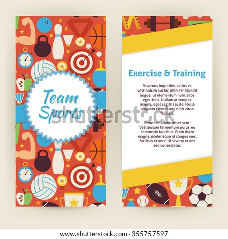Flyer template exercise training sport objects stock vector flyer template of exercise and training sport objects and elements flat style design vector illustration stopboris Choice Image