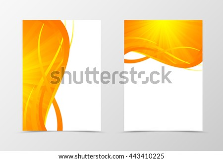 Flyer template wave design. Abstract flyer template in orange color with gold lines. Shiny spectrum flyer design. Vector illustration - stock vector