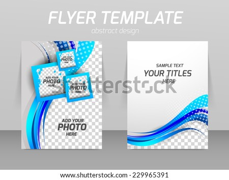 Flyer template wit wavy line and squares in blue color - stock vector