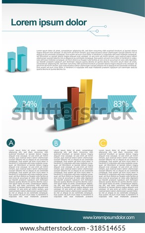 Flyer with graph - stock vector