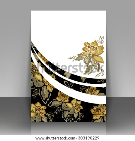 Flyer with yellow flowers on a black background. Can be used as the cover of brochures