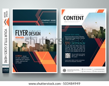 Flyers design template vector.Abstract blue cover book portfolio engineering presentation.Orange hexagon poster design layout.Brochure report business magazine poster.City design on A4 brochure layout