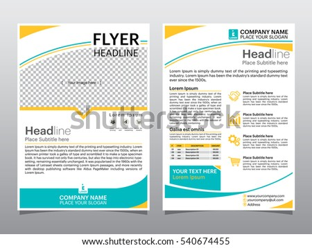Flyers design template vector. Brochure report business magazine poster. Cover book , abstract green and blue shape and  A4 layout.