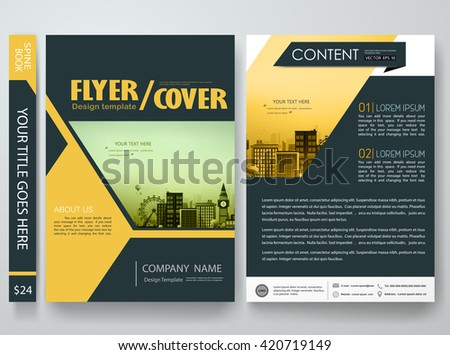 Flyers design template vector.Brochure report business magazine poster template.Cover book portfolio presentation and abstract yellow shape poster design.City design on brochure background.A4 layout. - stock vector