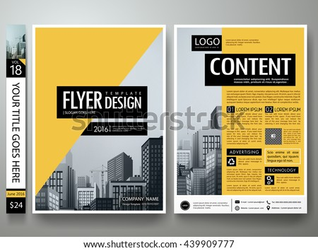 Flyers design template vector. Business brochure report magazine poster resume. Cover book minimal portfolio presentation. Abstract black and yellow shape on a4 layout.