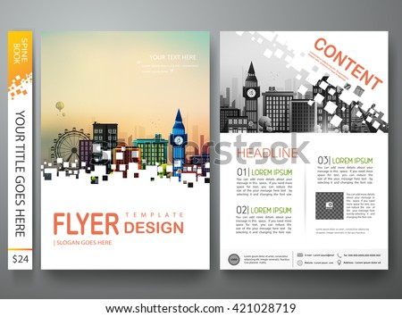 Flyers design template vector. Brochure annual report business magazine poster.Leaflet cover book presentation with abstract square background and flat city. Layout in A4 size.illustration. - stock vector