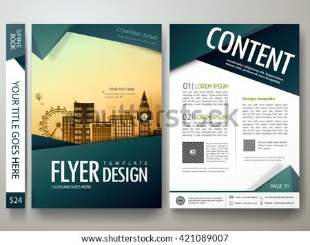 portfolio brochure template - flyers design template vector modern brochure stock vector