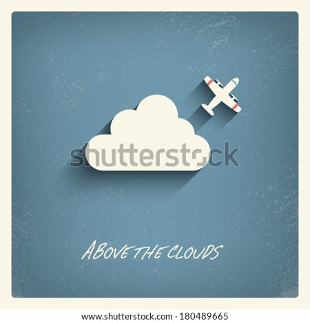 Flying above clouds, visual art concept illustration suitable for postcards, decorations, promotion. Eps10 vector illustration. - stock vector
