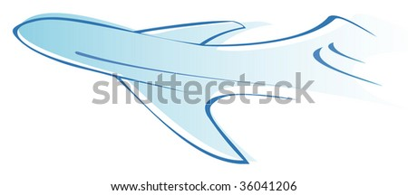 Flying airliner - stylized vector illustration. Blue icon, sign. Design element.