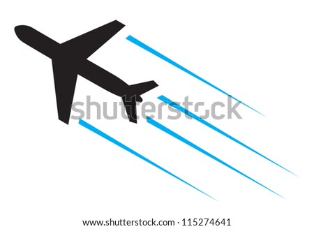 Flying airplane - stock vector