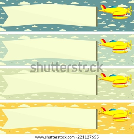 Flying airplane and Banner , Poster  - Sky on Background . Vector. Illustration - stock vector