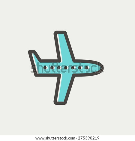 Flying airplane icon thin line for web and mobile, modern minimalistic flat design. Vector icon with dark grey outline and offset colour on light grey background. - stock vector