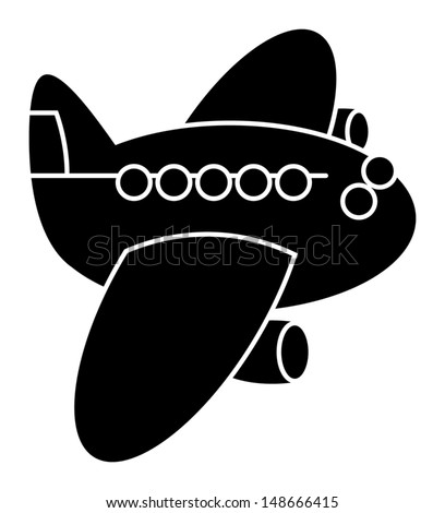 Flying airplane sign, vector illustration - stock vector