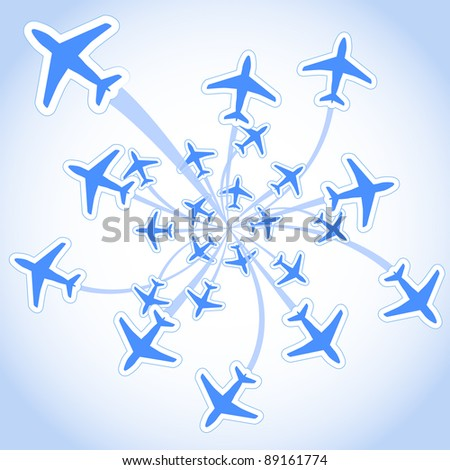 Flying airplanes - stock vector