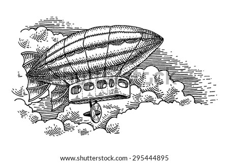Flying airship engraving isolated on white background - stock vector