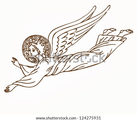 Flying angel - vector illustration - stock vector