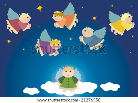 Flying angels, christmas theme, angel in heaven, starry sky, religion, advent, blue, gift, present, vector illustration, postcard, guardian angel - stock vector