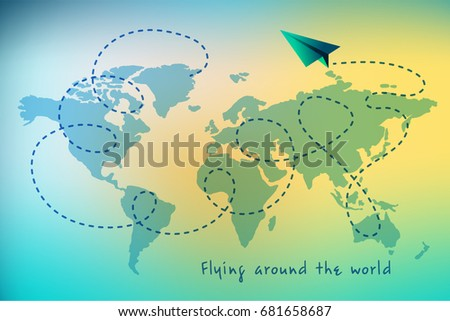 Flying around world telegram vector stylized stock photo photo flying around the world telegram vector stylized illustration paper airplane and world map gumiabroncs Image collections