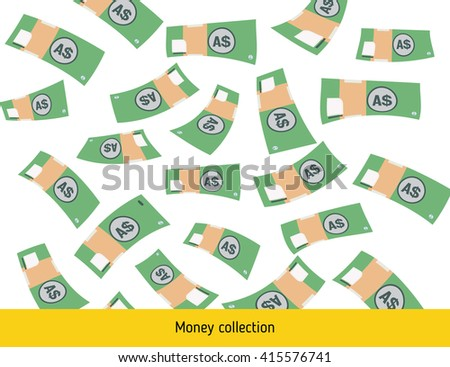 Flying australian dollar banknotes. Money rain. Falling australian dollar - stock vector