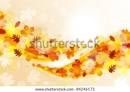 Flying autumn leaves background - stock vector