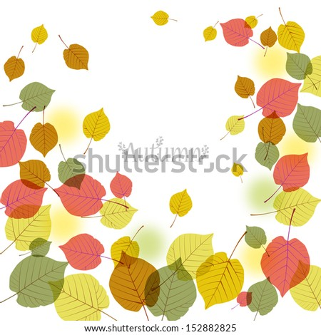 Flying autumn leaves background with space for text.File contains Clipping mask with un-cropped images (so you can edit the position etc), transparency, Gradient. - stock vector