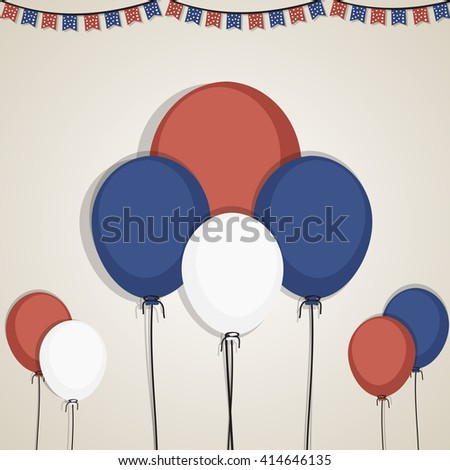Flying Balloons in American Flag colors for 4th of July, Independence Day celebration concept. - stock vector