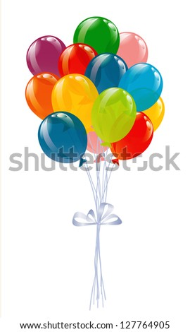 Flying balloons isolated on white - stock vector