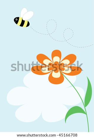 Flying bee and flower; vector background  or greeting card for kids - stock vector