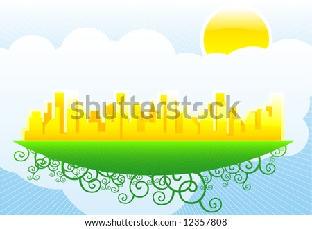 Flying big golden city in sky vector illustration design