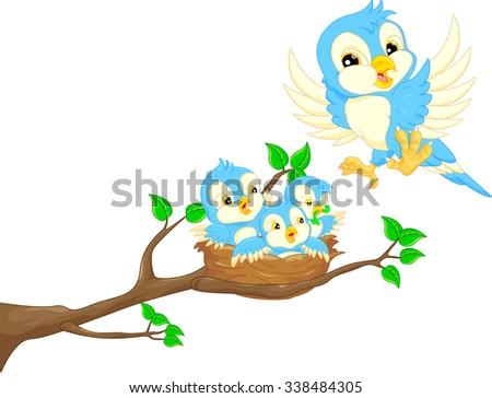 Flying bird and baby bird in the nest - stock vector