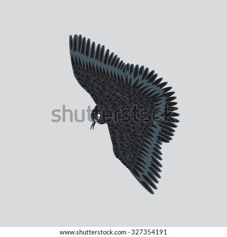 flying bird isolated on background vector hand-drawing - stock vector