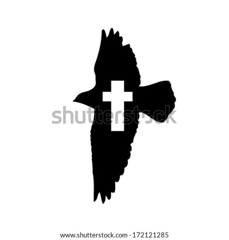 Flying Bird with cross. Vector - stock vector