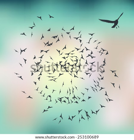 flying birds leadership concept vector illustration