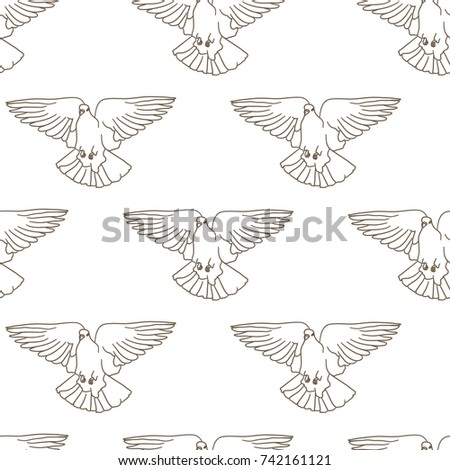 Flying birds seamless pattern. Vector background