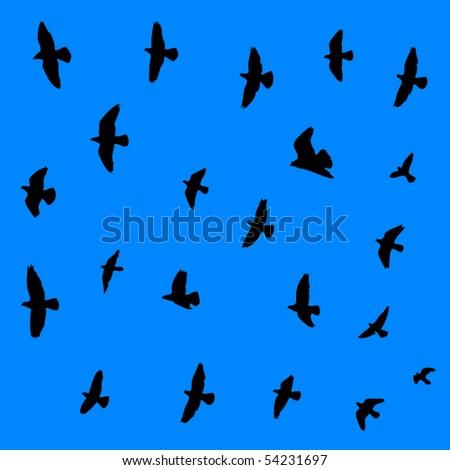 Flying birds seamless vector background. - stock vector