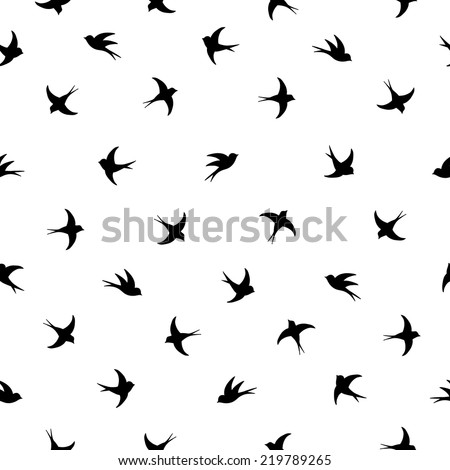Flying birds silhouette black and white pattern - stock vector
