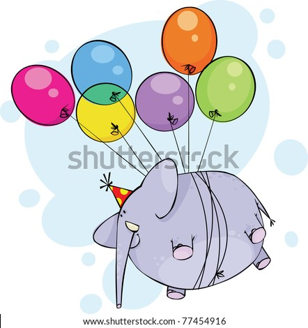 Flying birthday elephant - stock vector