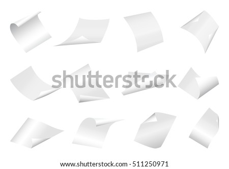 Flying blank paper sheets with curved corner. Vector page on white background illustration