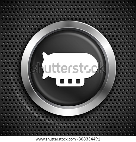 Flying Blimp on Black Round Button - stock vector