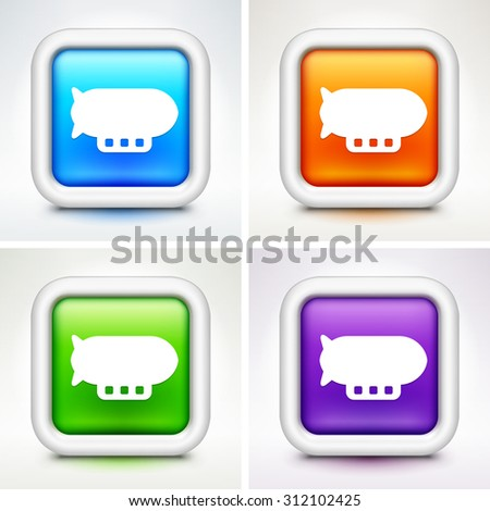 Flying Blimp on Colorful Square Buttons - stock vector