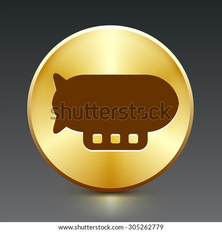 Flying Blimp on Gold Round Button - stock vector
