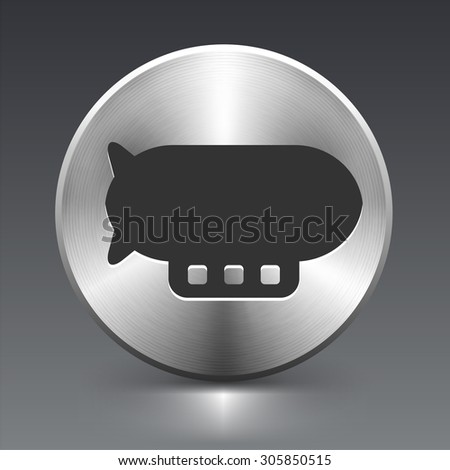 Flying Blimp on Silver Round Button - stock vector