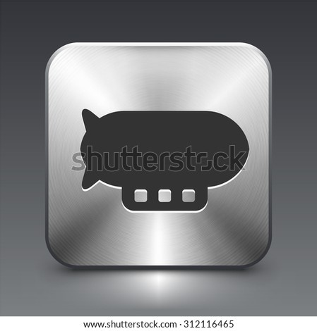 Flying Blimp on Silver Square Button - stock vector